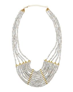 Tiered Pearly Crystal Beaded Necklace, Gray
