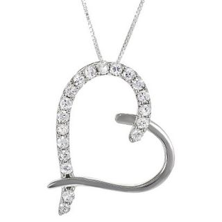 Sterling Silver Cubic Zirconia Heart Necklace   Silver