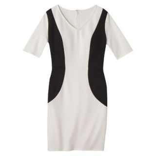 Merona Womens Ponte V Neck Color Block Dress   Sour Cream/Black   XL
