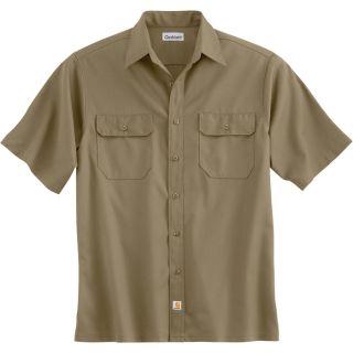 Carhartt Short Sleeve Twill Work Shirt   Khaki, XL, Regular Style, Model S223