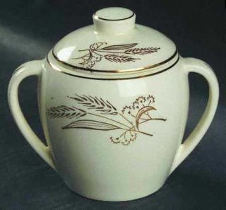 Lifetime Prairie Gold Sugar Bowl & Lid, Fine China Dinnerware   Gold Wheat