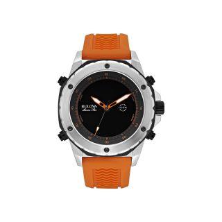 Bulova Marine Star Mens Orange Rubber Strap Alarm Watch