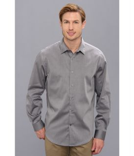Perry Ellis Long Sleeve Twill Non Iron Shirt Mens Long Sleeve Button Up (Gray)