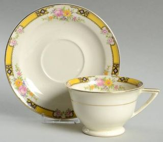 Edwin Knowles 402e1 Footed Cup & Saucer Set, Fine China Dinnerware   Yellow Band