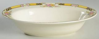 Edwin Knowles 402e1 9 Oval Vegetable Bowl, Fine China Dinnerware   Yellow Band