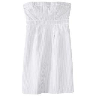 Merona Womens Seersucker Strapless Dress   Grey/White   10