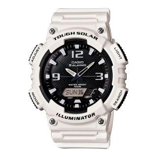 Casio Analog Digital Solar Sports Watch, White, Mens