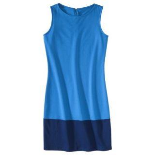 Merona Womens Ponte Color Block Hem Dress   Brilliant Blue/Waterloo Blue   L