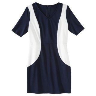 Merona Petites V Neck Colorblock Ponte Dress   Navy/Cream XSP