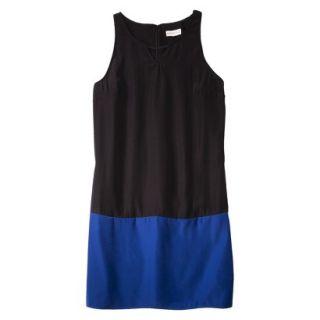 Merona Womens Colorblock Hem Shift Dress   Black/Waterloo Blue   16