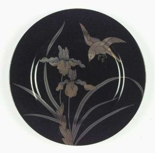 Fitz & Floyd Oiseau Dore Salad Plate, Fine China Dinnerware   Black Bkgd, Gold