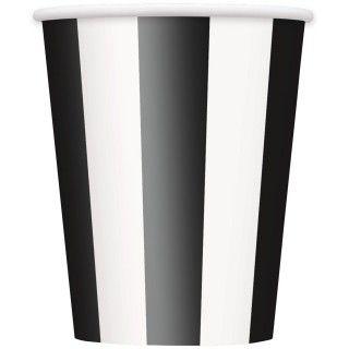 Black Striped 12 oz. Paper Cups (6)