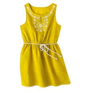 Girls Sleeveless Embellished Front Shirt Dress   Vintage Yellow L