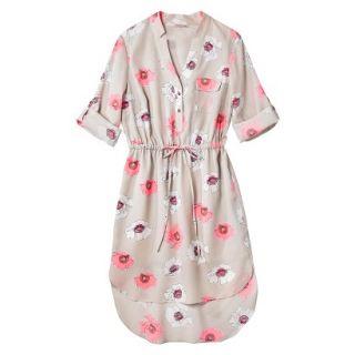 Merona Womens Drawstring Shirt Dress   Pink Floral   XL