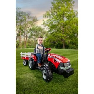 Peg Perego 12 Volt Case IH Magnum Tractor with Trailer   Red