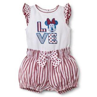 Disney Newborn Girls 2 Piece Minnie Mouse Set   White/Red NB