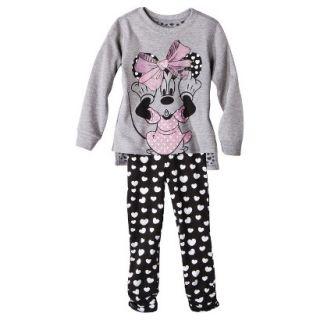 Disney Infant Toddler Girls 2 Piece Minnie Mouse Set   Grey 5T