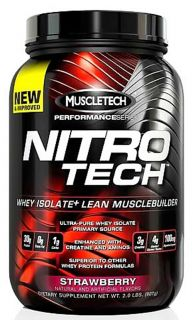 Muscletech Products   Nitro Tech Performance Series Whey Isolate Strawberry   2 lbs.
