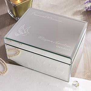 Mirrored Personalized Jewelry Box   In Loving Memory   Large