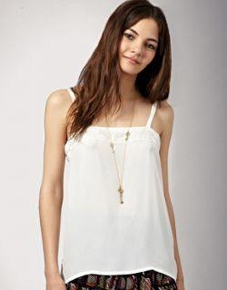 Winter Kate  Camiseta de tirantes de crepé de seda y adorno de encaje de Winter Kate en