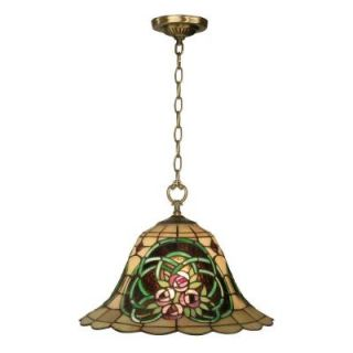 Dale Tiffany Triple Rose 1 Light Hanging Antique Brass Pendant with Art Glass Shade TH10506