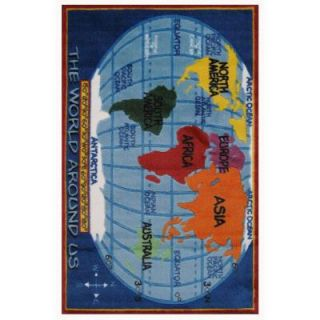 LA Rug Inc. Supreme Kids World Map Multi Colored 5 ft. 3 in. x 7 ft. 6 in. Area Rug TSC 161 5376