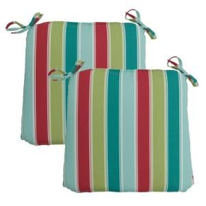 Hampton Bay Caroll Stripe Outdoor Chair Cushion (2 Pack) 7348 02000800