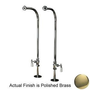 Pegasus 1/2 in. x 1/2 in. x 30 in. Polished Brass Freestanding Tub Hot and Cold Supply Line Set 4502 PL PB