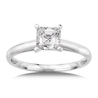 1/2 Carat Asscher Cut Solitaire in 14kt White Gold, 1/2 Carat Diamond Ring, Square Emerald Cut Diamond Rings