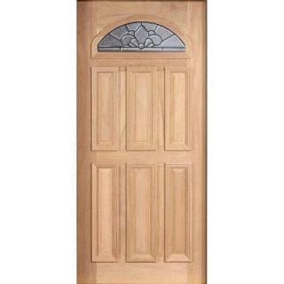Main Door Mahogany Type Unfinished Beveled Patina Fanlite Glass Solid Wood Entry Door Slab SH 553 UNF BPT