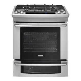 Electrolux Wave Touch 4.2 cu. ft. Slide In Double Oven Dual Fuel Range with Self Cleaning Convection Oven in Stainless Steel EW30DS75KS
