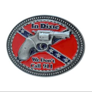Buckle Rage Dixie 911 Gun Southern Pride Confederate Rebel Belt Buckle, SILVER, 271: ARCHIVE
