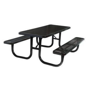 Ultra Play 8 ft. Diamond Black Commercial Park Rectangular Portable Table PBK238 V8BK