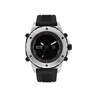 Bulova Marine Star Mens Black Rubber Strap Alarm Watch