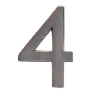 Architectural Mailboxes 4 in. Cast Brass Dark Aged Copper Floating House Number 4 3582DC 4