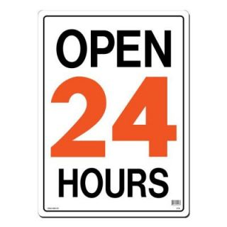 Lynch Sign 15 in. x 21 in. Orange and Black on White Plastic Open 24 Hours Sign R  1B
