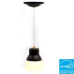 Its Exciting Lighting Ceiling Mount Oil Rubbed Bronze Battery Operated 24 LED Pendant with Frosted Glass Shade 002891