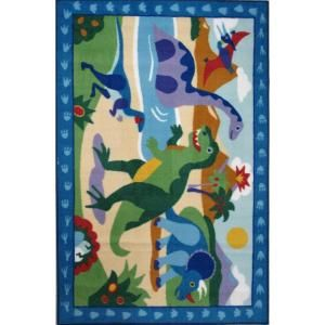 LA Rug Inc. Olive Kids Dinosaurland Multi Colored 19 in. x 29 in. Area Rug OLK 052 1929