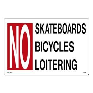 Lynch Sign 18 in. x 12 in. Red and Black on White Plastic No Skateboards   Bicycling   Loitering Sign GEN  18
