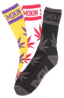 DGK The Stay Smokin 2 3 Pack Crew Socks Black, White, & Yellow