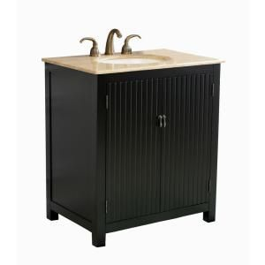 Virtu USA Vienne 32 in. Single Basin Vanity in Black with Natural Stone Vanity Top in Travertine DISCONTINUED LS 1005T