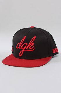 DGK The Cursive Snapback in Black Red