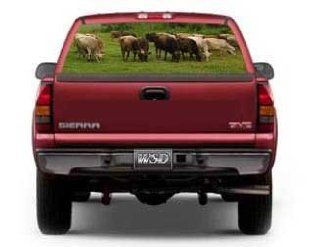 """See Through Rear Window Graphic with Brown Swiss Cattle Scene   29"""" h x 66"""" w (Large SUV/Van)"""