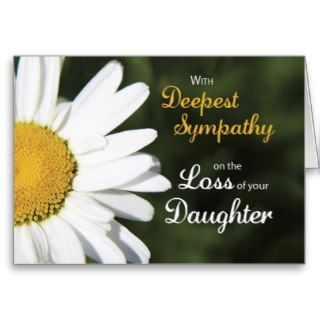 Daughter, Religious Sympathy, White Daisy Greeting Cards