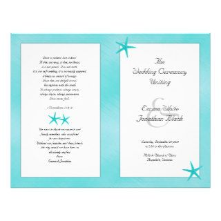 Aqua Tropical Catholic Ceremony Wedding Program Custom Flyer