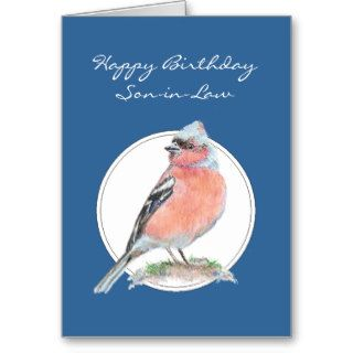 Chaffinch, Happy Birthday Son in Law, Bird Greeting Card