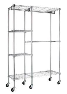 "Sandusky Lee EZGR4818 RW3 4 Shelf Steel Garment Rack with Wheels, 48"" Width x 74"" Height x 18"" Length, Chrome Industrial & Scientific"