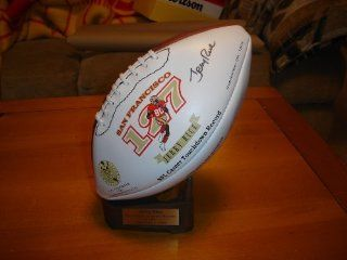 Autographed Jerry Rice San Francisco 49ers Signature Wilson Football w/ Stand: Sports Collectibles