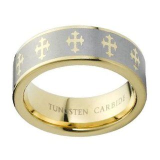 8mm High Polished and Brushed Flat Pipe Cut Two Tone Yellow Gold Plated Christian Catholic Crosses Tungsten Carbide Comfort Fit Wedding Band Ring (Sizes 5 to 15): Catholic Rings For Men: Jewelry