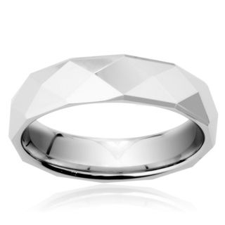 Tungsten Carbide Faceted High Polish Ring Men's Rings